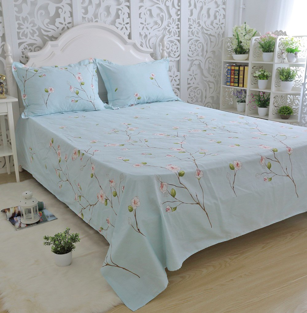FADFAY Rustic Blue Floral Print Bed Sheet Set 4-Piece Full Size