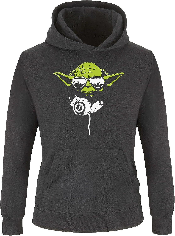Sweat /à Capuche Star Wars pour Filles et gar/çons Comedy Shirts Sweat Shirt pour Enfants Sweat DJ Yoda Deluxe Mister Cool