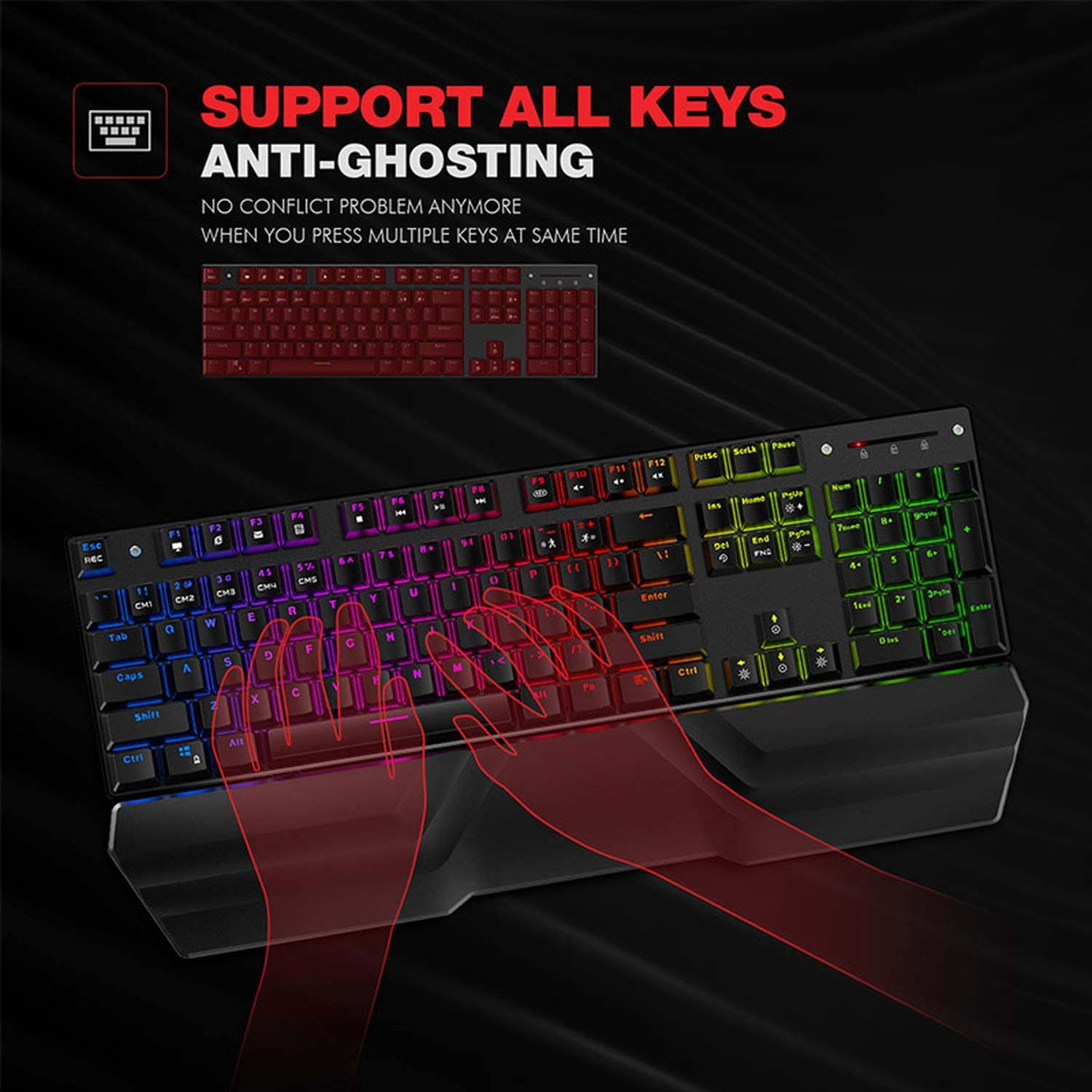 Meidly Mechanical Keyboard 87//104 Keys Blue or Red Switch Gaming Keyboards for Tablet Desktop Russian//US Sticker,432 Blue RU