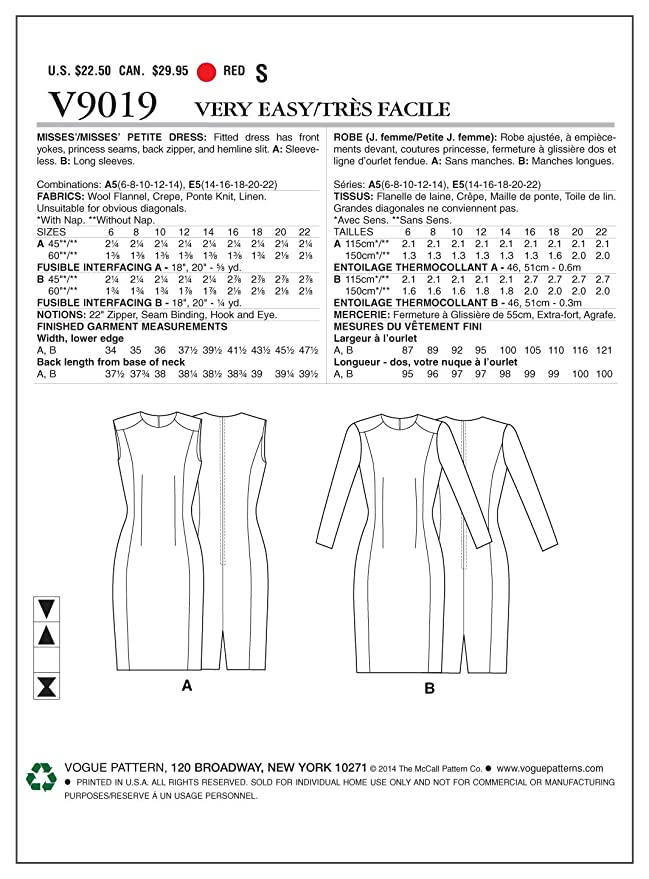 The McCall pattern Company 9019 E5 tamaños 14-16 - 20-18 - patrones ...