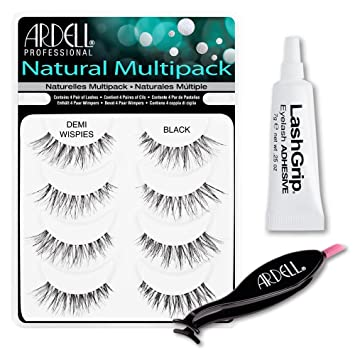 fdb9eaef12d Amazon.com : Ardell Fake Eyelashes Value Pack - Natural Multipack Demi  Wispies, LashGrip Strip Adhesive, Dual Lash Applicator - Everything You  Need For ...