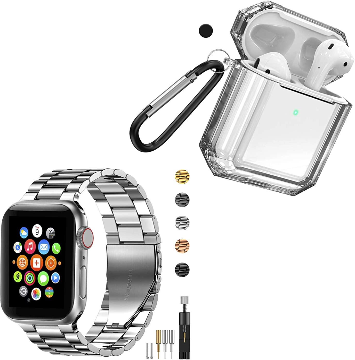 Fitlink Stainless Steel Metal Band for Apple Watch and TPU Case for Airpods 2&1