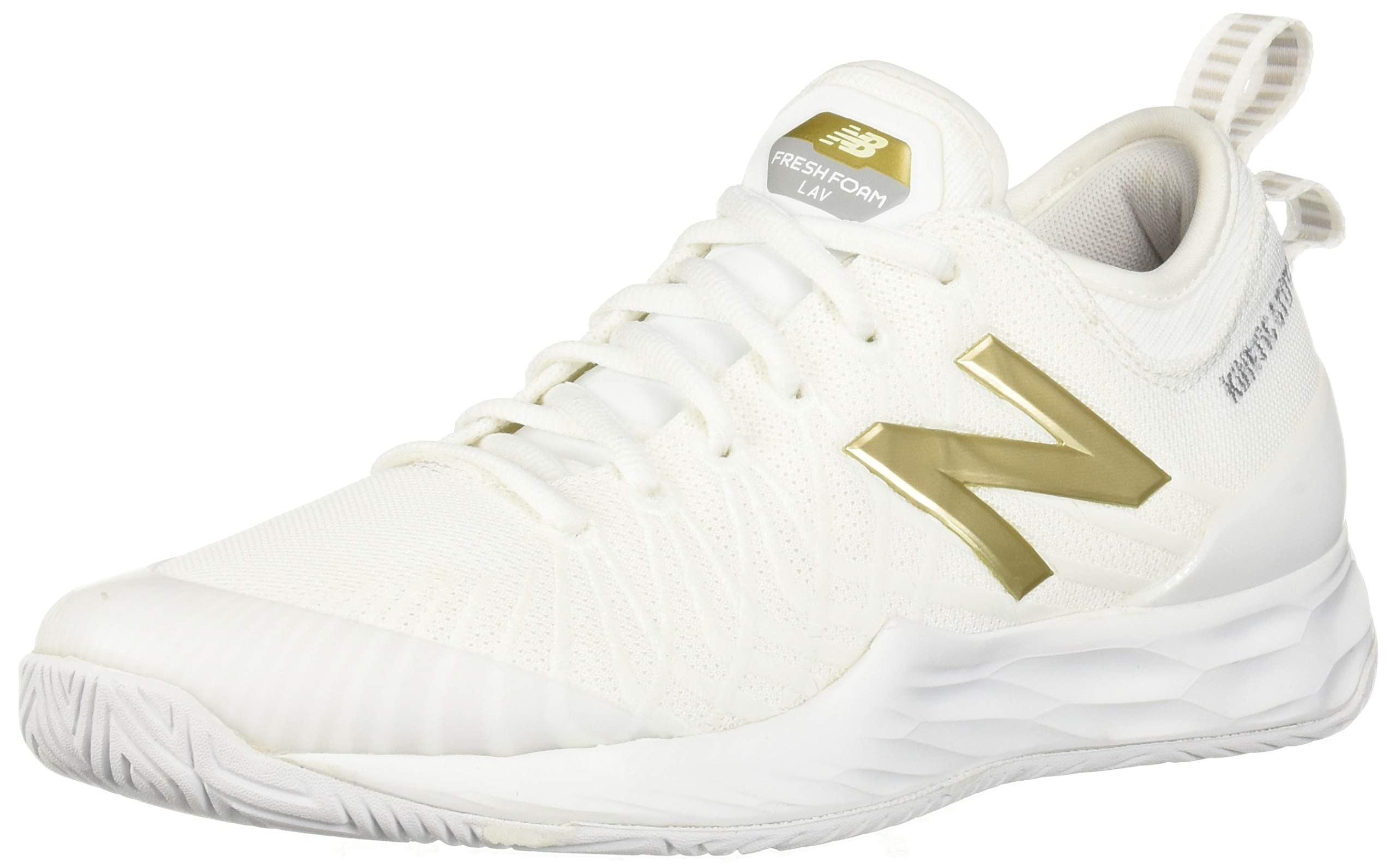 New Balance Men's LAV V1 Hard Court Tennis Shoe, White/Gold, 5 D US