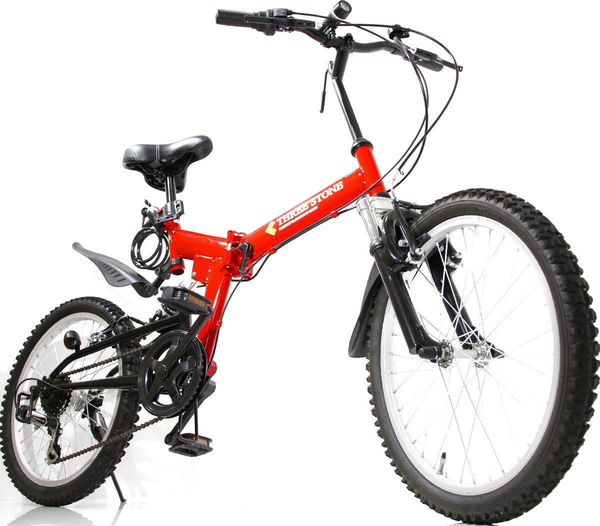 フルサスペンション マウンテンバイク 20インチ 折りたたみ自転車 AJ-01-T MTB シマノ6段外装ギア ダブルサス … B07CNXCDSK レッド レッド