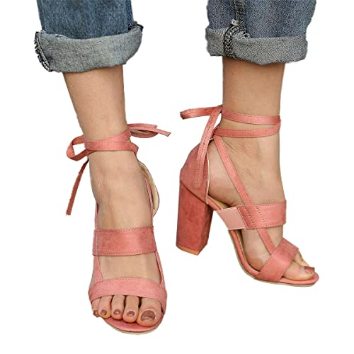 01e5cafb77a Inornever High Heels Sandals for Women Summer Cross Strappy Suede ...