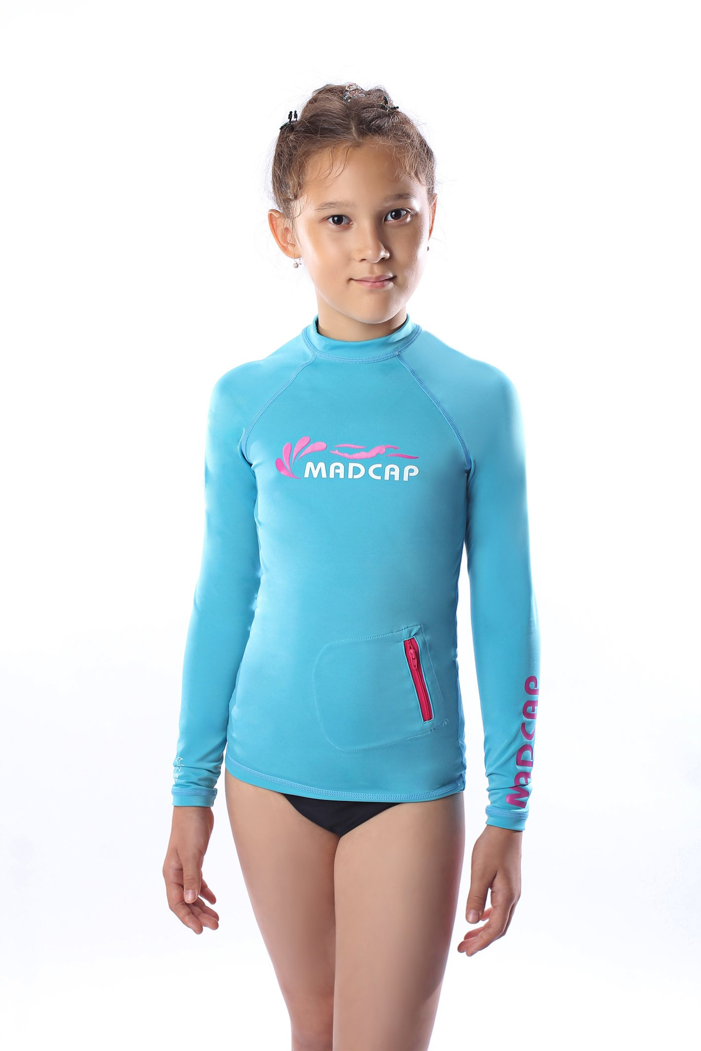 MADCAP Girls' UV Sun Protection Long-Sleeve Rash Guard (Blue, 14-L)