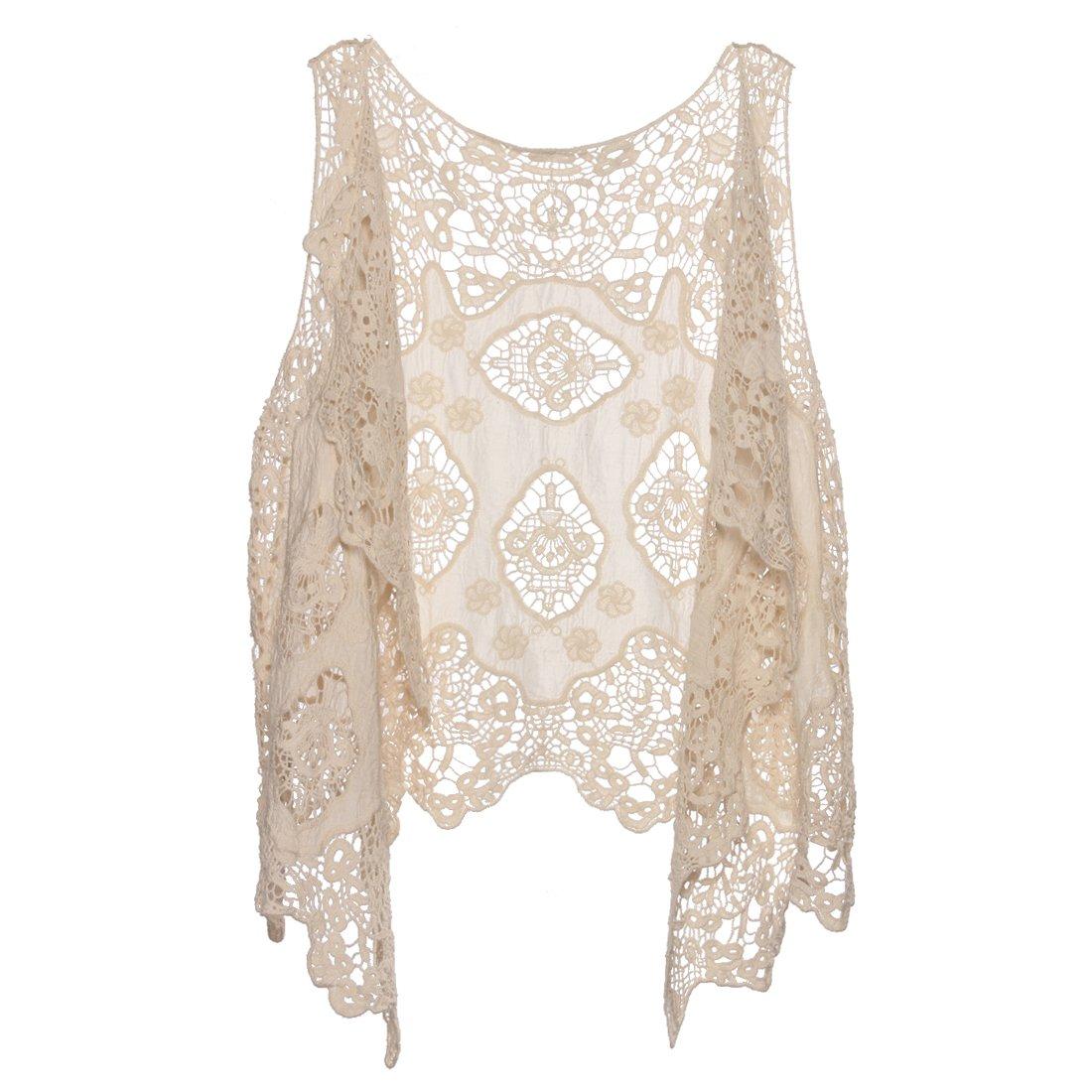 Jastie Open Stitch Cardigan Boho Hippie Butterfly Crochet Vest (Beige)