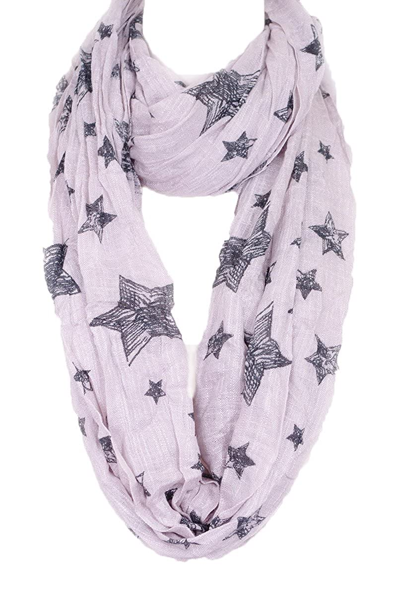 Sketched Star cotton Infinity thick Scarf, Fall/Winter Scarf wrap, cotton scarf cotton scarf (Tan)