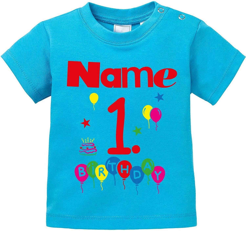 EZYshirt Geburtstag Wunschname Wunschnummer Baby T-Shirt Bio Baumwolle E-TS-BJ-2087