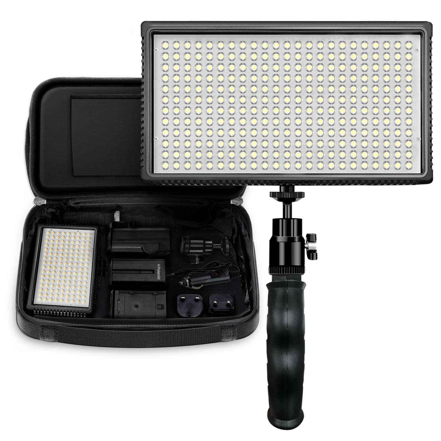 Polaroid Dimmable 312 LED Camera/Video Hand Grip Light w/ Variable Color Temperature, 2+ Hour Run Time by Polaroid