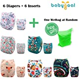 Babygoal Baby One Size Pocket Cloth Diapers Adjustable Reuseable Nappy 6pcs+6 Inserts 6YDG08