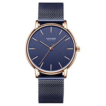 7c1dafb565 腕時計、メンズ腕時計 シンプル ビジネス ファッション 超薄型 軽量 ダークブルー ローズゴールド 防水