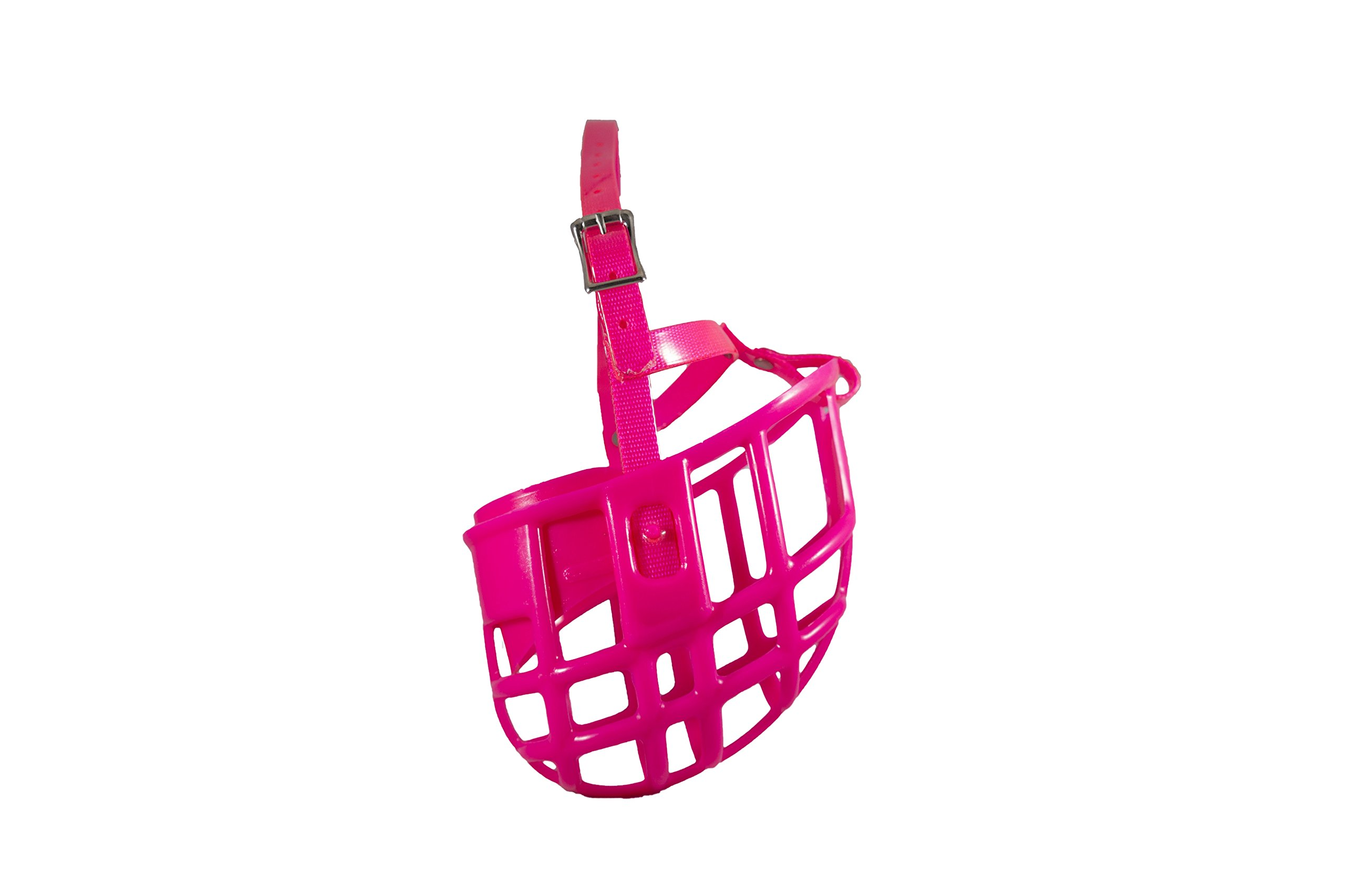 Birdwell Enterprises - Plastic Dog Muzzle with Adjustable Plastic Coated Nylon Headstall - Made in The USA - (Large, Pink)
