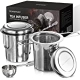 HOMEMAXS Tea Infuser 304 Stainless Steel Including 2 Mesh Tea Strainer & 1 Scoop with Double Folding Handles for Hanging on Teapots, Mugs, Cups