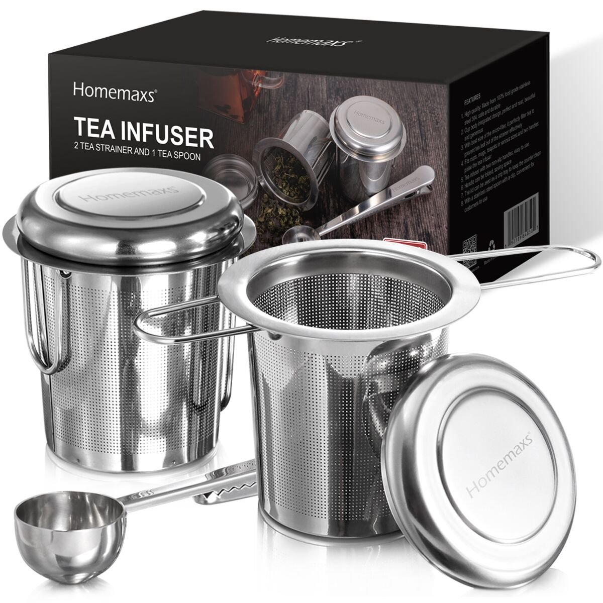 Homemaxs Tea Infuser 304 Stainless Steel Including 2 Mesh Tea Strainer & 1 Scoop with Double Folding Handles for Hanging on Teapots, Mugs, Cups [Energy Class A+]