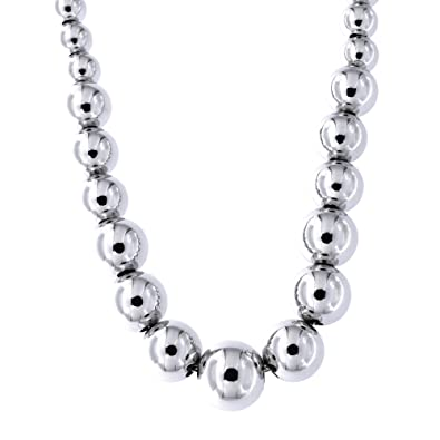 Bling Jewelry Graduated Blue Beads Rhodium Plated Necklace 40 Inches lwN3lL9