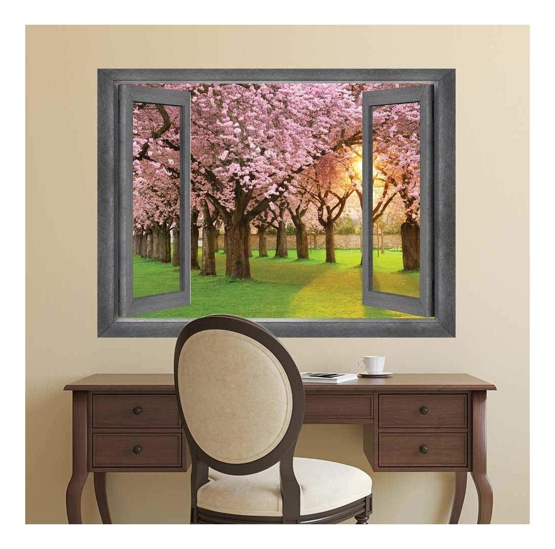 Open Window Creative Wall Decor - Peer into a Row of Blossom Trees - Wall Mural, Removable Sticker, Home Decor - 24x32 inches