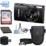 Canon PowerShot ELPH 360 HS(Black) with 12x Optical Zoom and Built-In Wi-Fi with Deluxe Starter Kit Including 64GB SDHC Flexible Tripod + Extra battery + Protective Camera Case