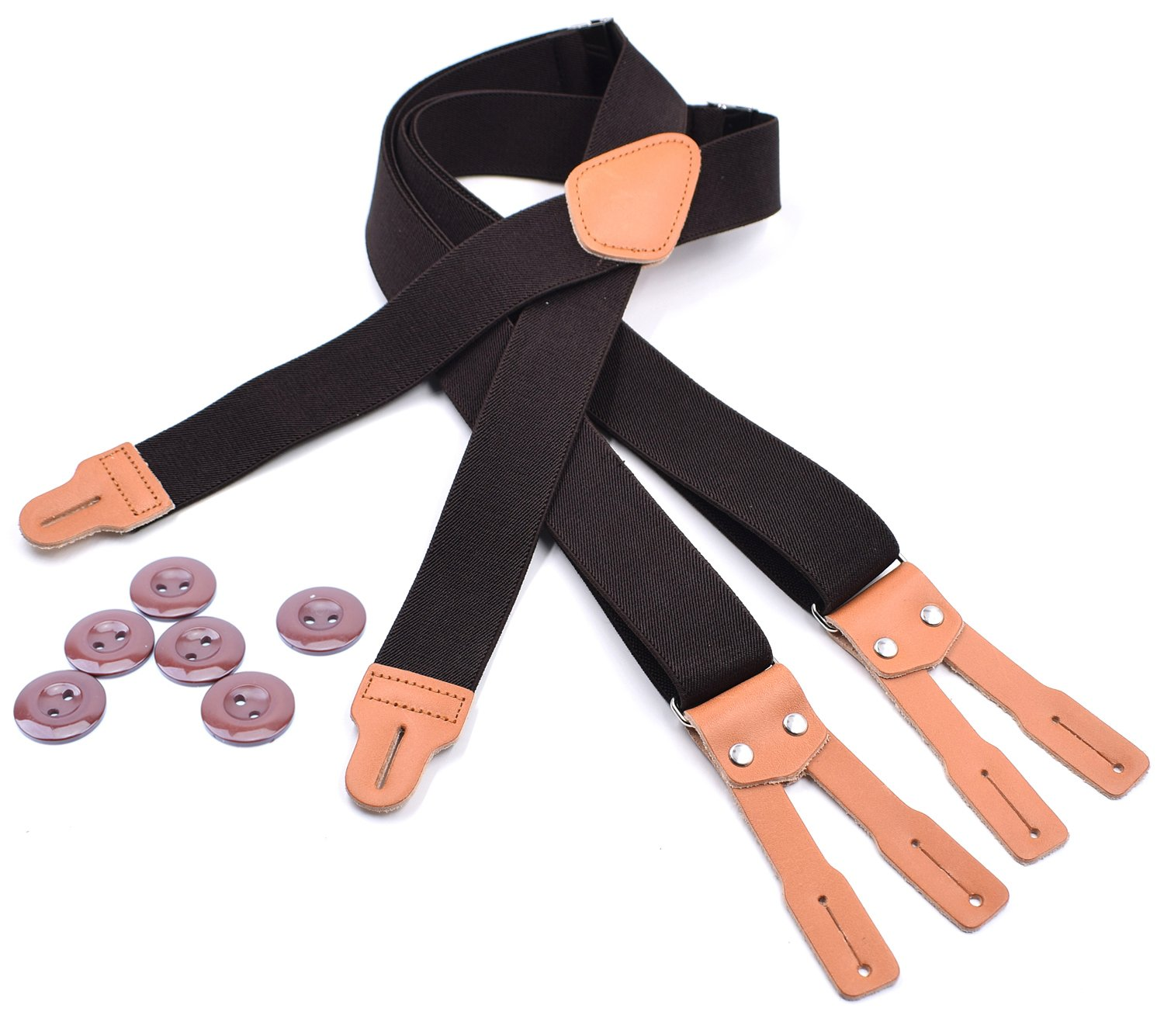 Men's Classic High Elasticity Adjustable Braces X-Back Suspenders with Leather Button End and Strap & Heavy Duty(Coffee)