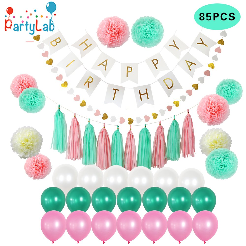 85 PIECE Birthday Party Decoration Pack - Happy Birthday Banner - 20 Party Balloons -10 Paper Pom Poms - 10 Tassels - 32 Paper Heart Garland Perfect For Girls Birthday Party set