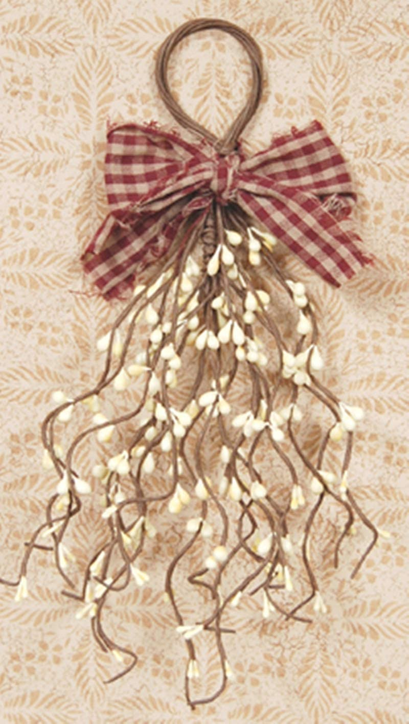 HAPPY DEALS ~ Pip Berry Wispy Teardrop | Ivory Pip Berry with Gingham Plaid Bow | 11 inch