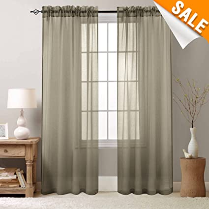Bedroom Curtains Brown Sheer Curtain inchg Long Drapes for Living Room  Voile 95 inch Length 2 Panels Rod Pocket