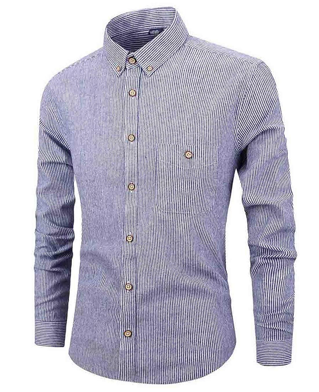 Zantt Mens Long Sleeve Cotton Striped Single Breasted Autumn Skinny Flap Pockets Shirts