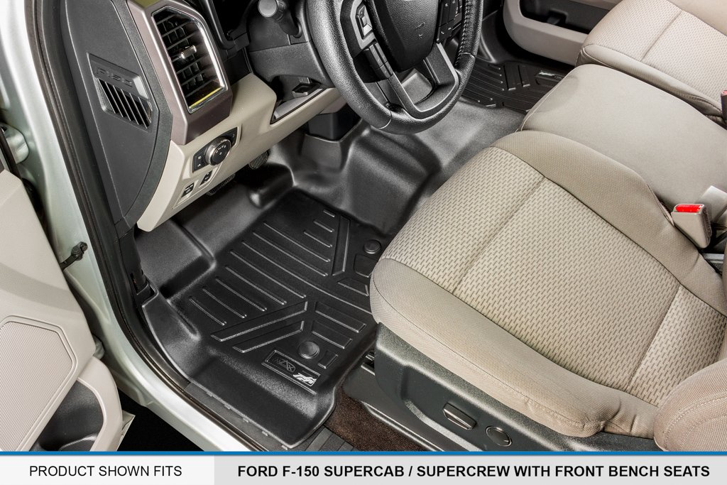 MAX LINER A0212/B0188 Custom Fit Floor Mats 2 Liner Set Black for 2015-2019 Ford F-150 SuperCrew Cab with 1st Row Bench Seat by MAX LINER (Image #2)