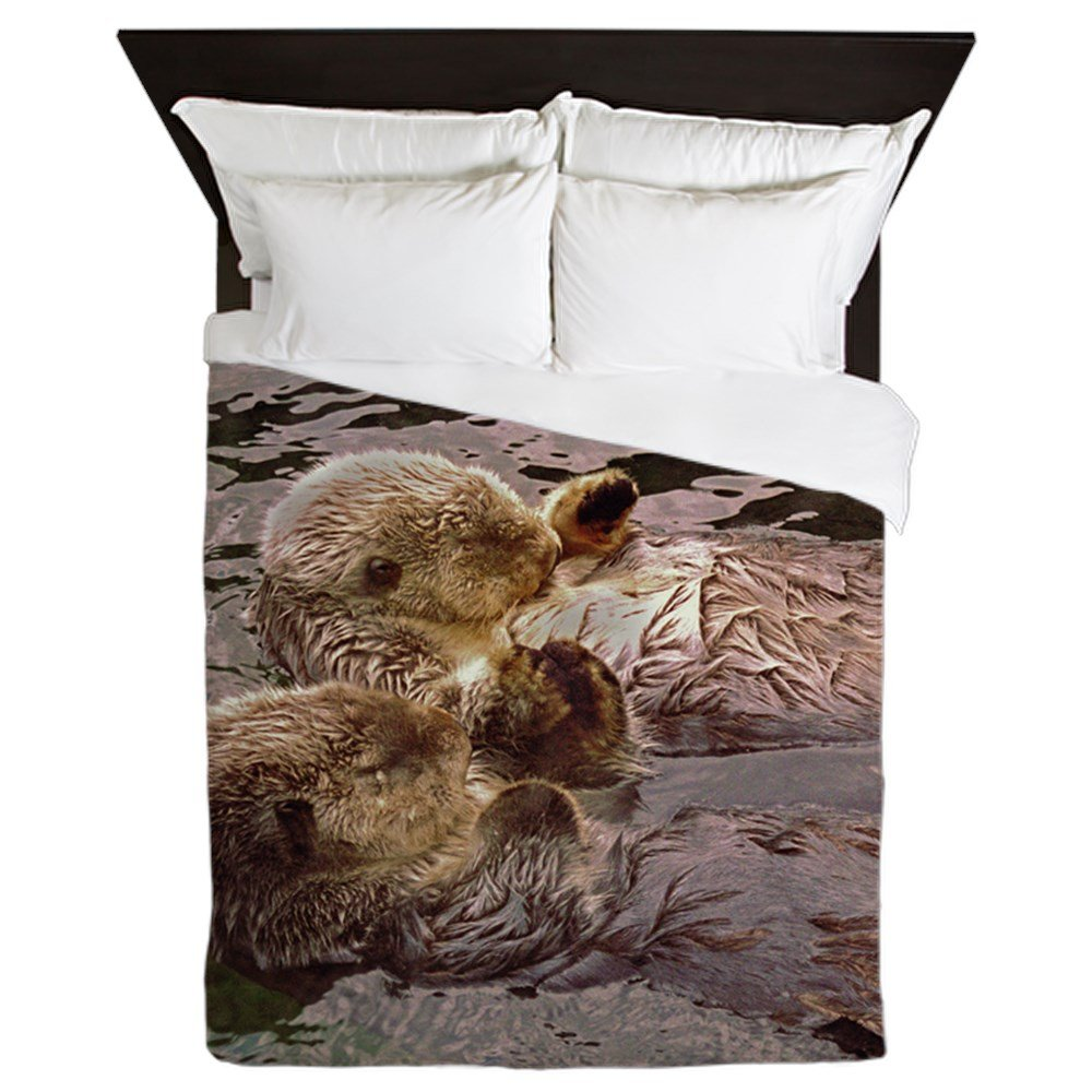 CafePress Sea Otters Holding Hands Queen Duvet Cover, Printed Comforter Cover, Unique Bedding, Microfiber