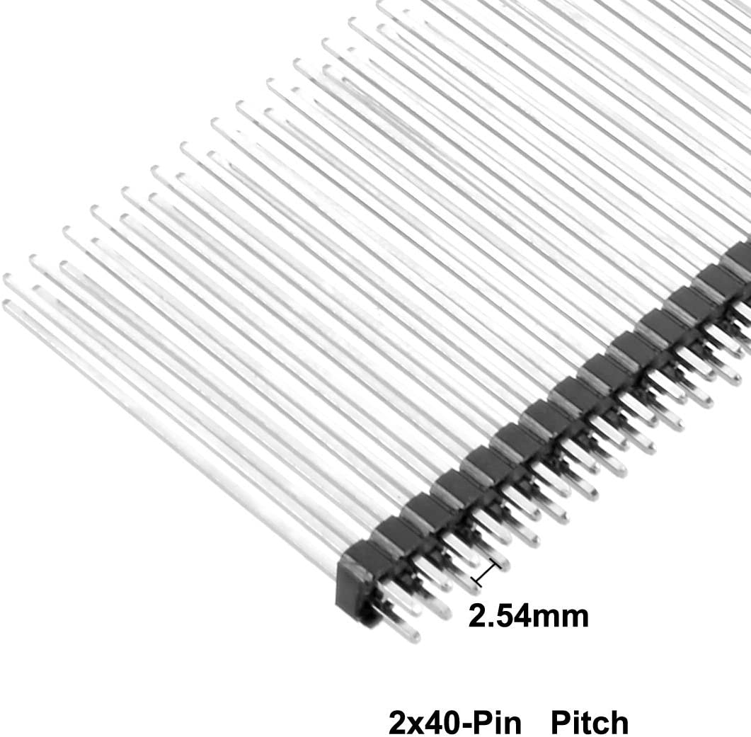 uxcell 10Pcs 2.54mm Pitch 40-Pin 30mm Long Double Row Straight Connector Pin Header Strip for Arduino Prototype Shield