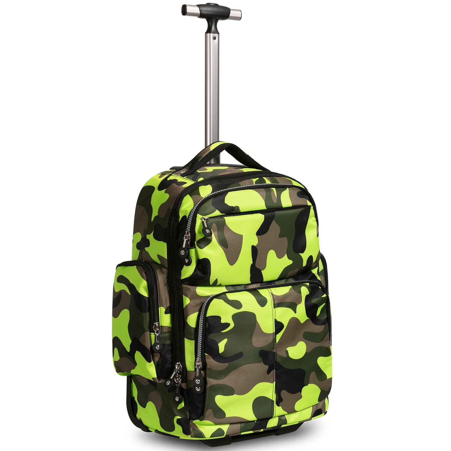 20 inches Big Storage Waterproof Wheeled Rolling Backpack Travel Luggage for Boys Students School Books Laptop Bag, Green Camouflage by HollyHOME (Image #1)