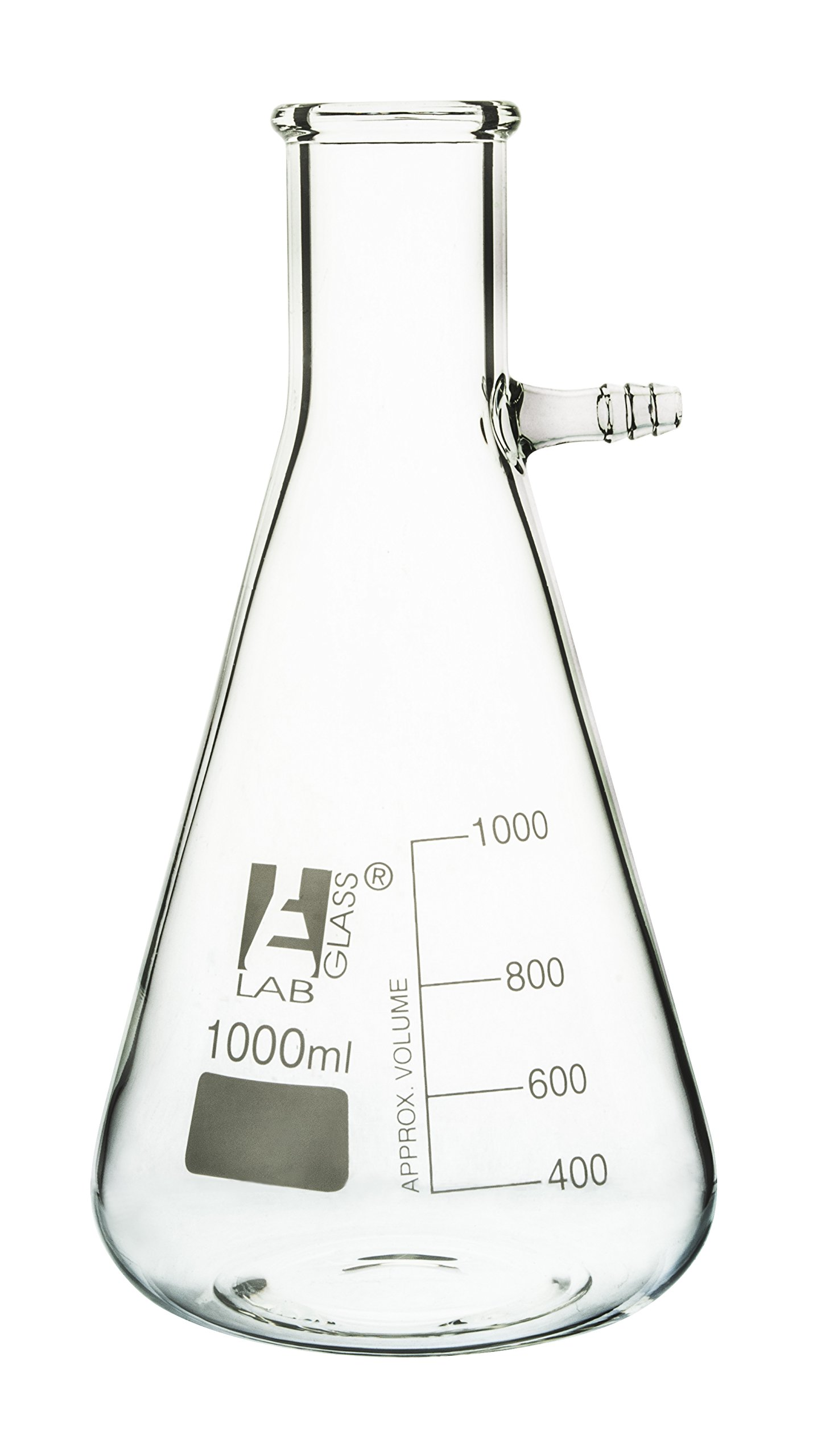 Filtering Flask, 1000ml - Borosilicate Glass - Conical Shape, with Integral Side Arm - White Graduations - Eisco Labs by EISCO