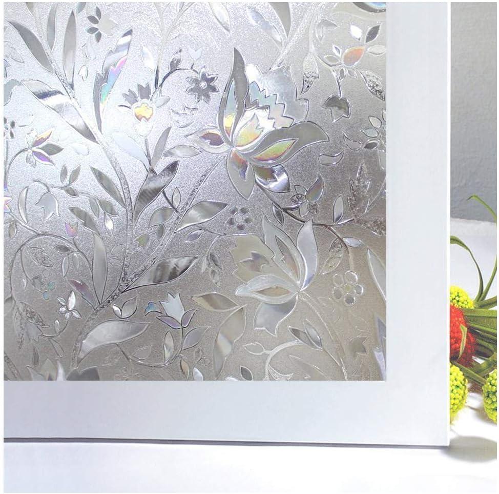Zindoo Film pour Fen/être Film Electrostatique Prot/ége Intimit/é Anti-UV D/écoratif Film Vitre Anti Regard Occultant avec Motif Tulipes Fleurs pour Verre et Vitrage 44.5 cm /× 200 cm