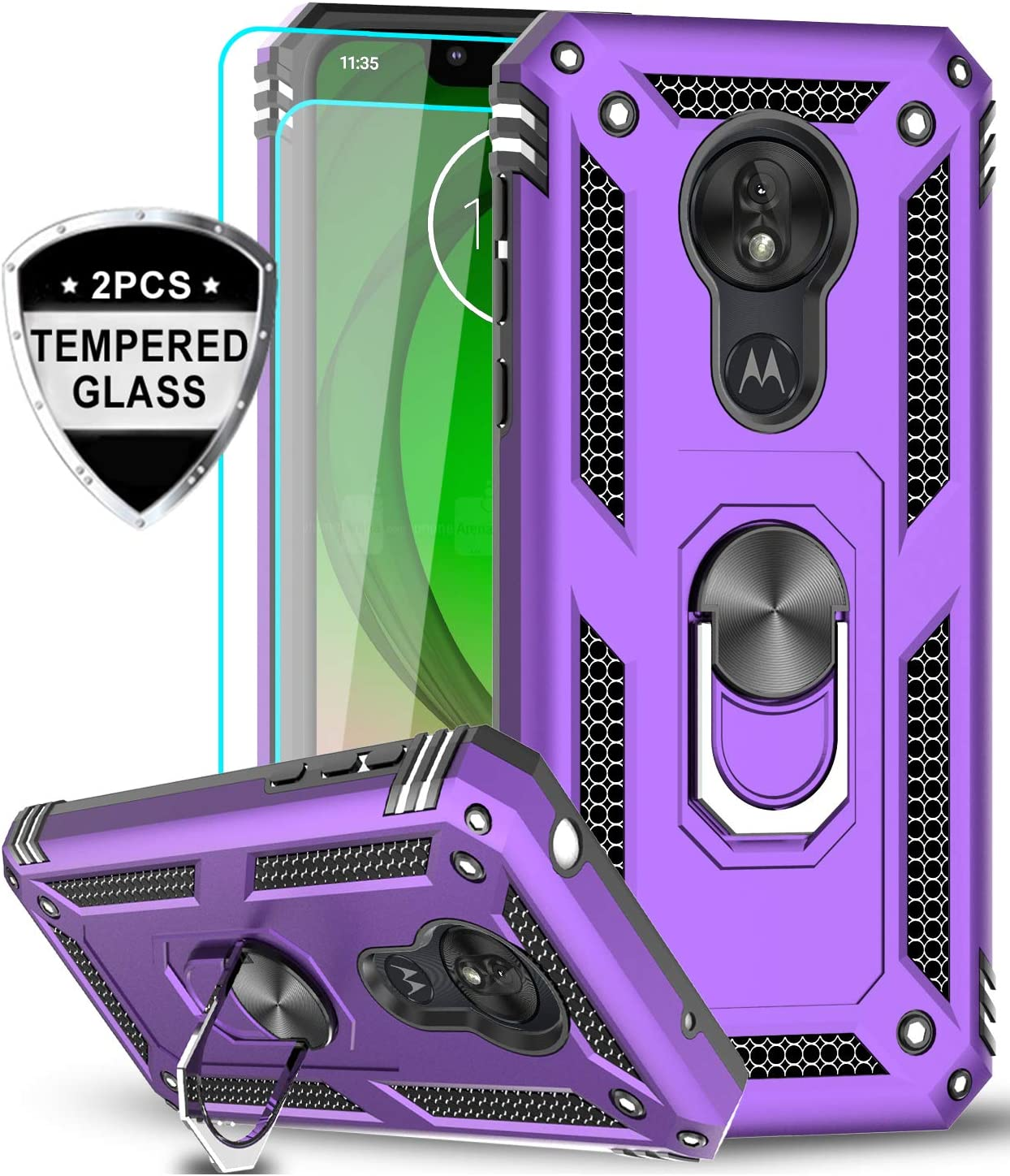 LeYi Moto G7 Play Case (Not Fit Moto G7) with Tempered Glass Screen Protector [2 Pack], Military Grade Defender Phone Case with Magnetic Car Mount Kickstand for Moto G7 Play, Purple