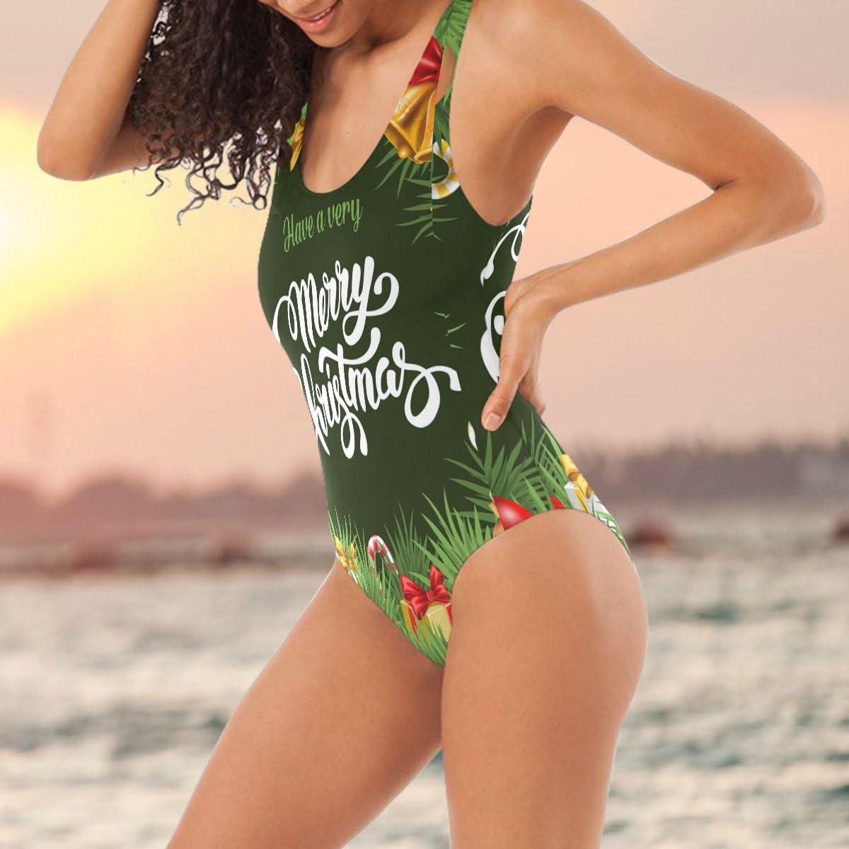 DragonSwordlinsu COOSUN Womens Merry Christmas One-Piece Swimsuit Scoop Back Monokini Swimwear Bathing Suit