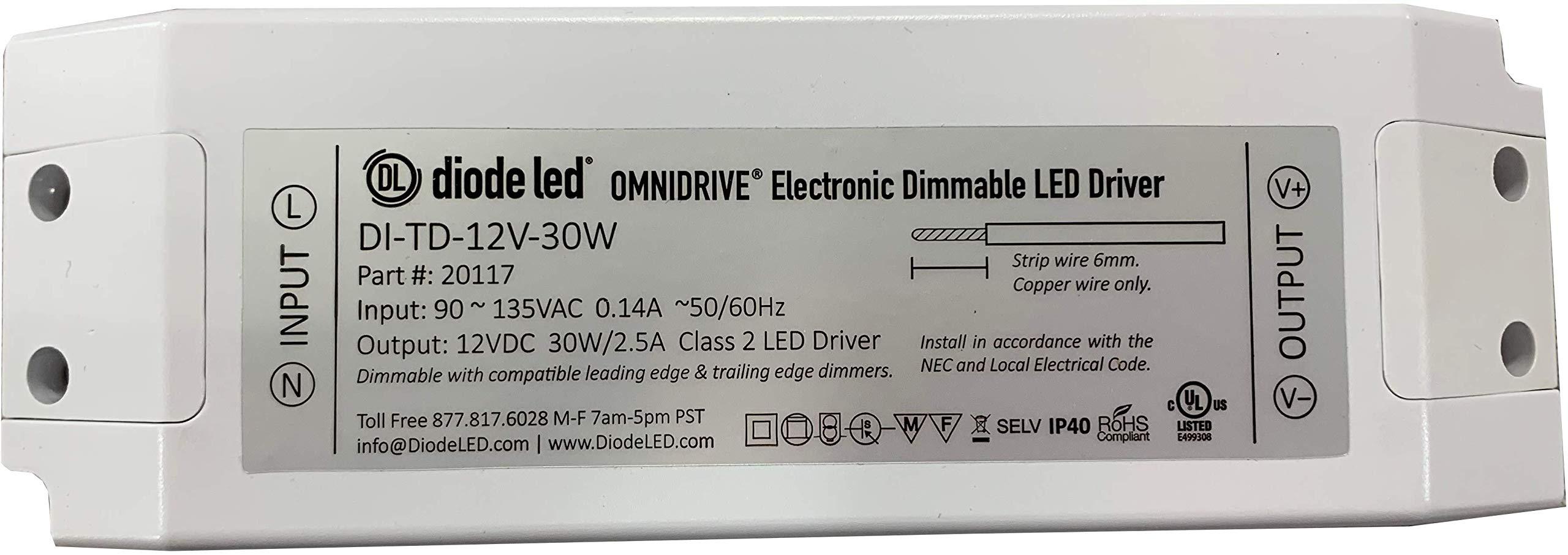 Diode LED DI-TD-12V-30W 30 Watt Omnidrive Electronic Dimmable LED Driver 12V DC