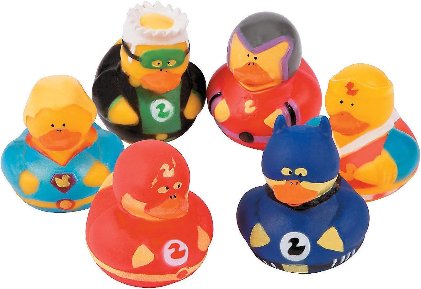 Fun Express Superhero Rubber Duckies (1 dz) Superhero Themed Party Favors, Character Toys, Rubber Duckies