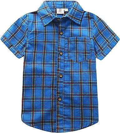 ALLAIBB Niño Camisa Collar de la Solapa Comprobar Arriba ...