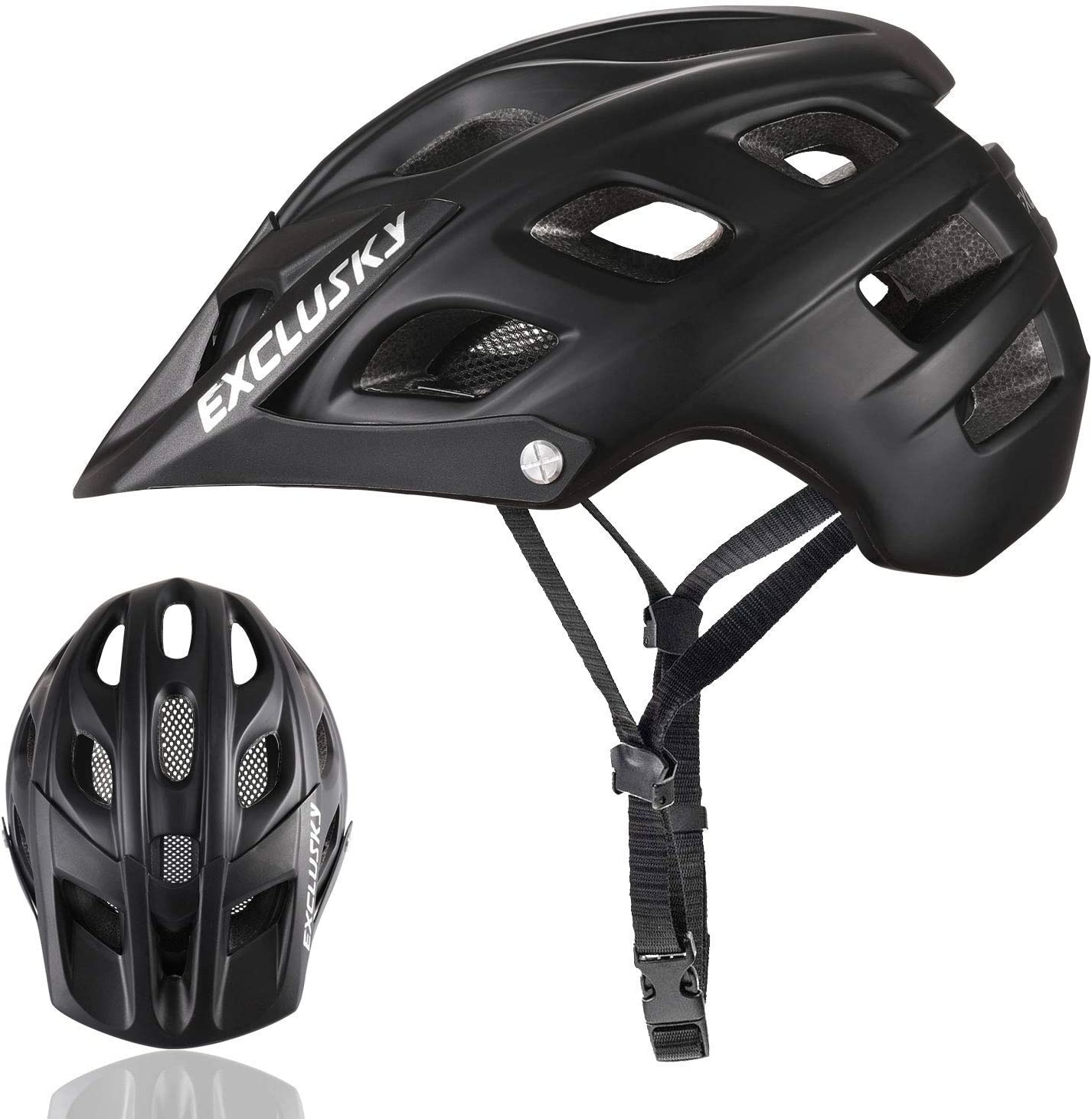 Exclusky Mountain Bike Helmet with Detachable Visor for Adult Women and Men – Adjustable M L Size 22.05-24.01 Inches