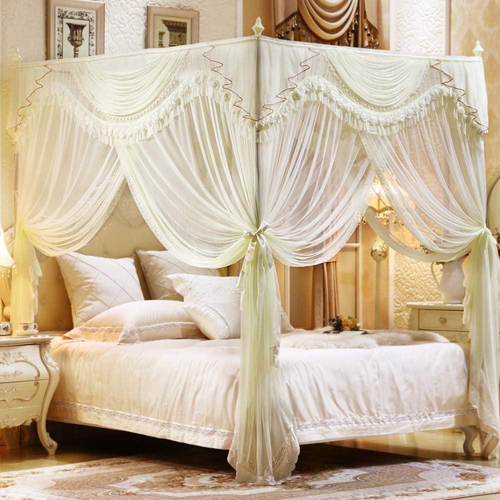 姫ベッドキャノピー,4コーナーポストベッドカーテン ベッドルームの装飾のためのステンレス鋼のサポートが付いている3開口部の蚊のネット-イエロー