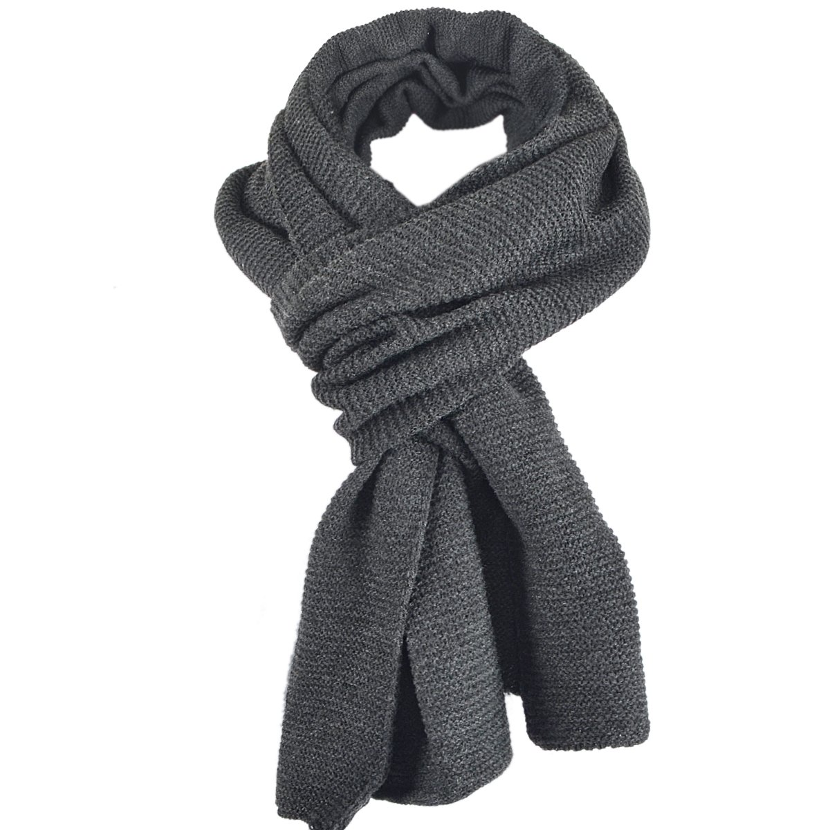 Stylish Unisex Daily Square Pattern Soft Knitted Winter Scarf E5031 (E5081-Dark Grey)