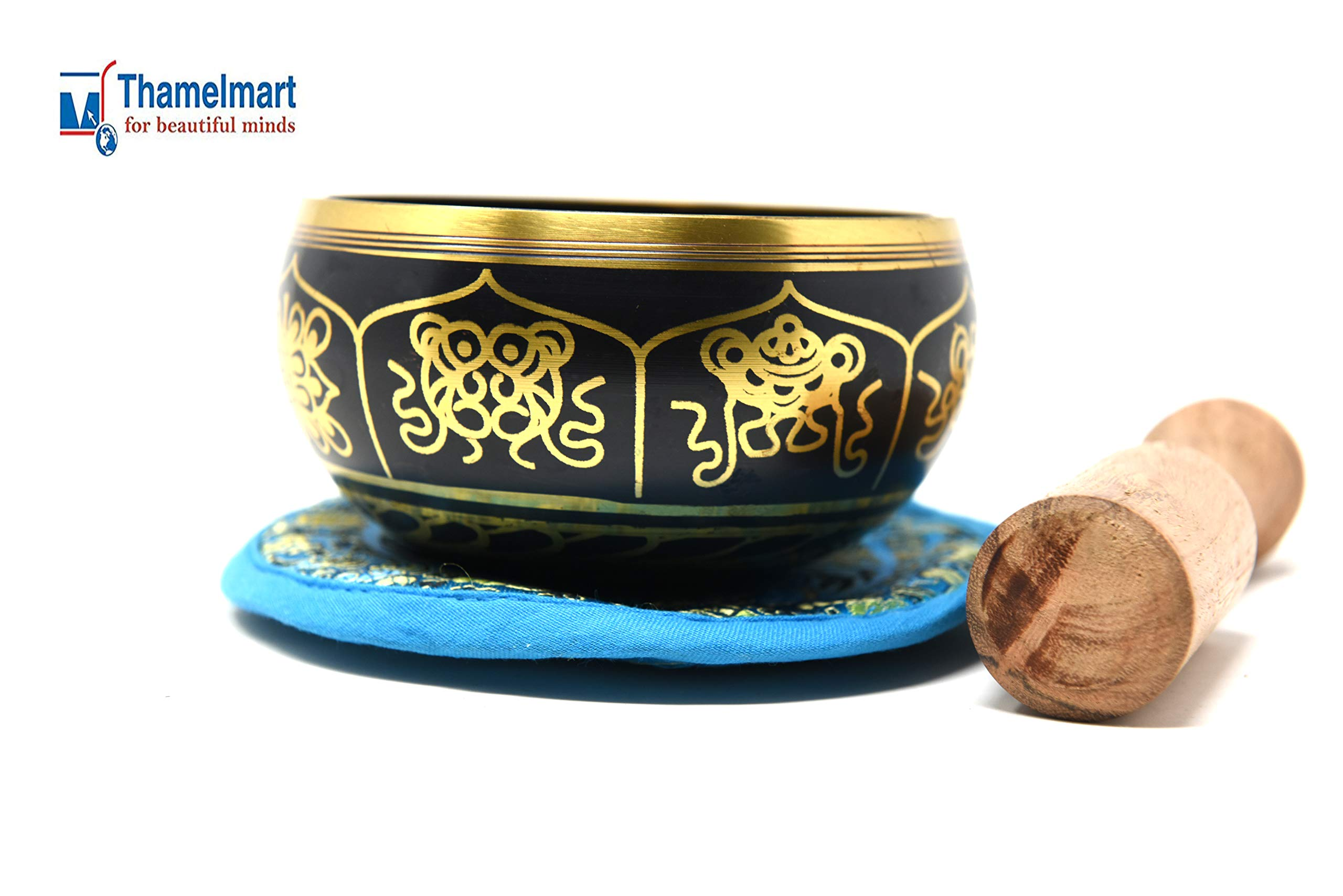4'' Exquisite Tibetan Singing Bowl Set for Meditation ~ Auspicious Lucky Eight Symbols, Buddha Eye & Dorje Painted ~ Silk Cushion & Wooden Mallet Included ~Handmade in Nepal by Thamelmart by TM THAMELMART FOR BEAUTIFUL MINDS