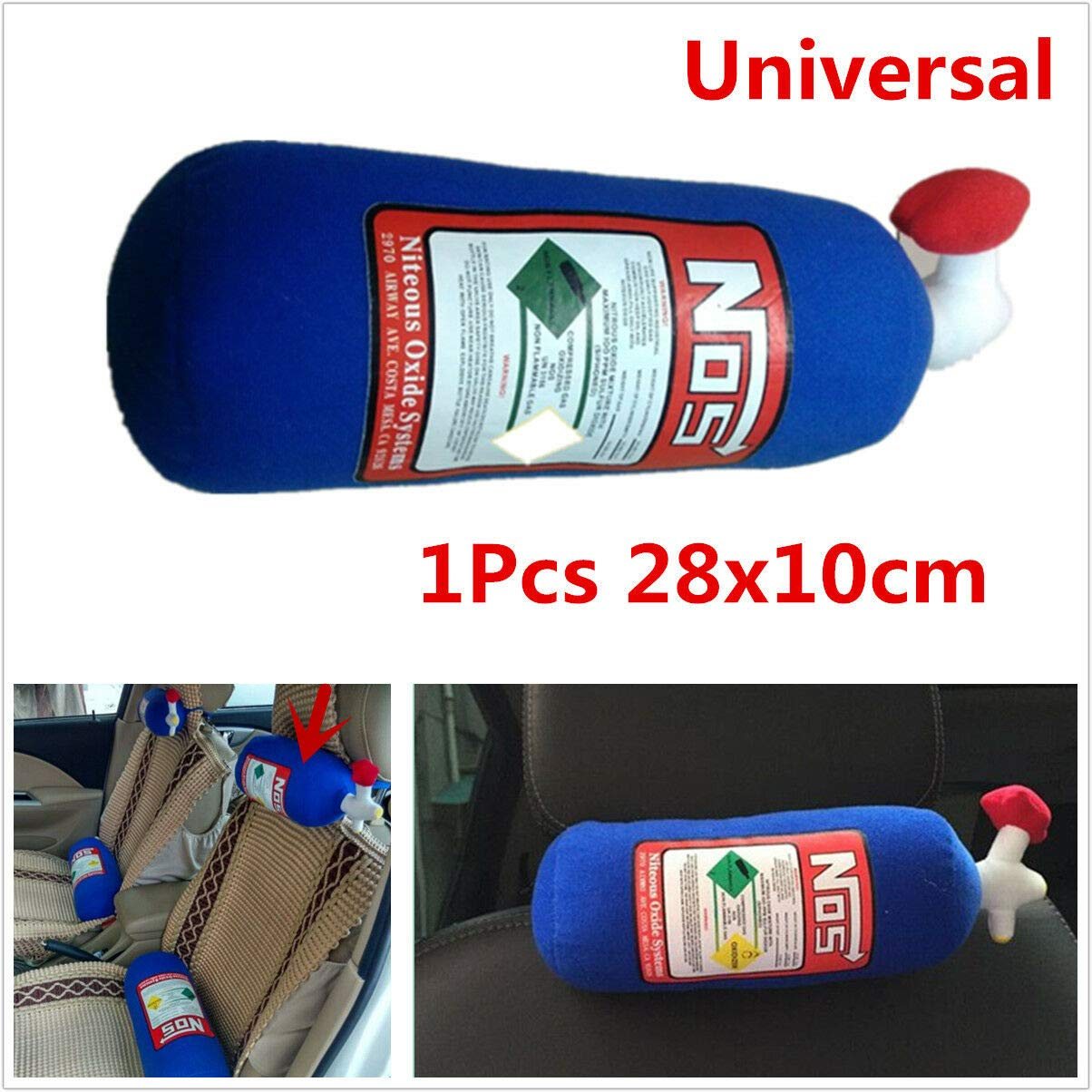 28x10cm NOS Bottle Tank Style Pillow Plush Seat Headrest Blue for Car Travel by HERCHR