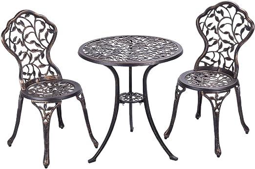 COSTWAY Conjuntos de Mueble de Jardín con 1 Mesa y 2 Sillas de Aluminio Set de Mesa y Asientos para Balcón: Amazon.es: Jardín