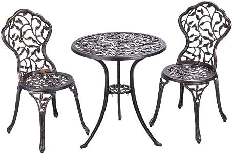 COSTWAY Conjuntos de Mueble de Jardín con 1 Mesa y 2 Sillas de ...