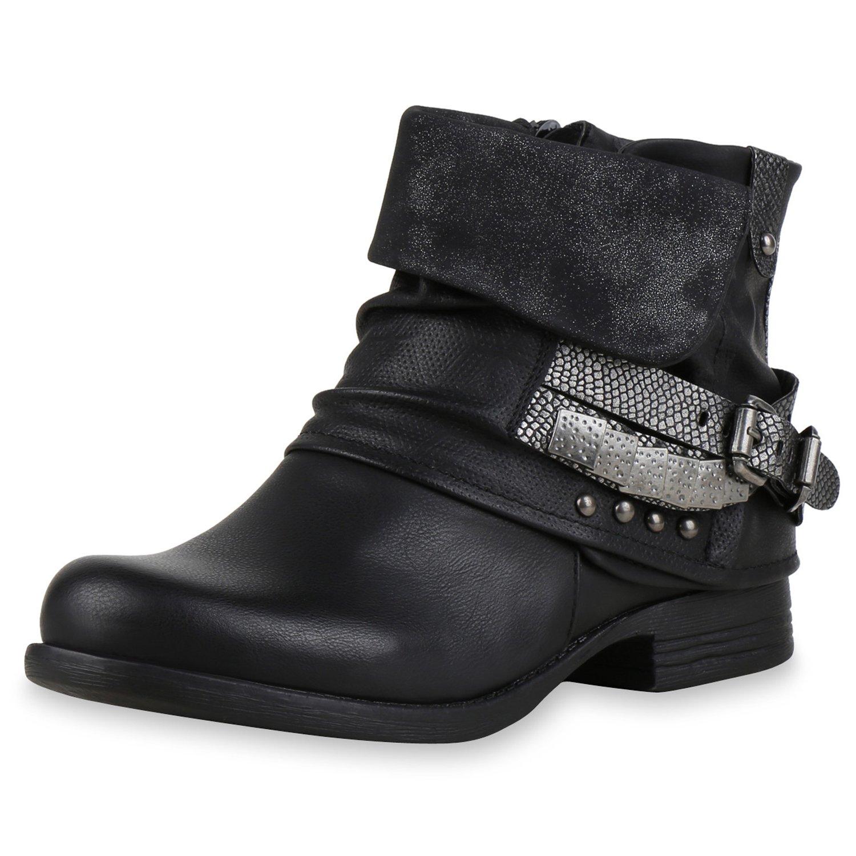 napoli-fashion Damen Schuhe Biker Boots Nieten Stiefeletten Metallic Schnallen Braun Nieten 38 Jennika 4e6J9