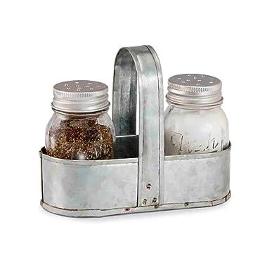 Mud Pie 4505000 Fresh Jar Salt and Pepper Caddy, 0.3576H x 13.622L x 10.6299W, Mason