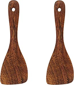 Honbay 2PCS Wooden Rice Spoon Rice Paddle Rice Cooker Spatula Kitchen Cooking Spoons for Kitchen (oblique head)