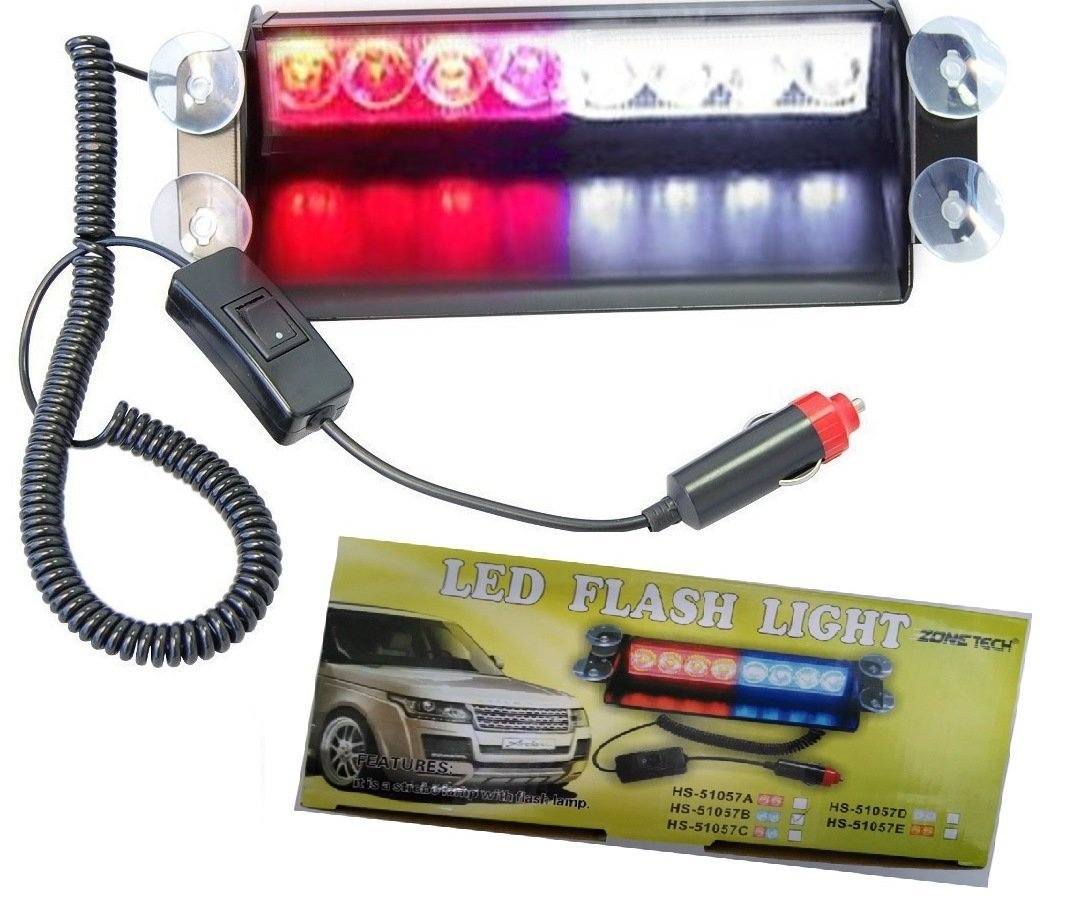 ZHOL® 8 LED Visor Dashboard Emergency Strobe Lights Red/white 4333023390