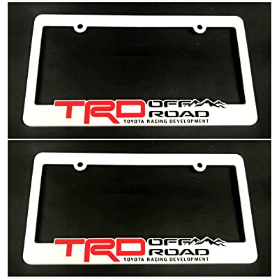 Xitek TF-ORW 3D Emblem SR5 TRD Off Road Racing Development License Plate Holder Frame Cover for Tundra Tacoma 4 Runner Land FJ Cruiser (2 White): Automotive